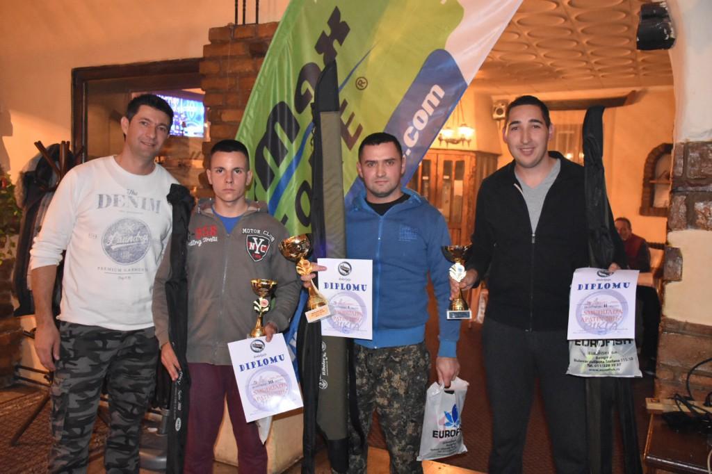 Dejan Dizija, Rodić Saša, Bajić Slobodan, Srđan Majstorović,5.međunarodna smuđijada, Apatin, novembar 2016, Čikla