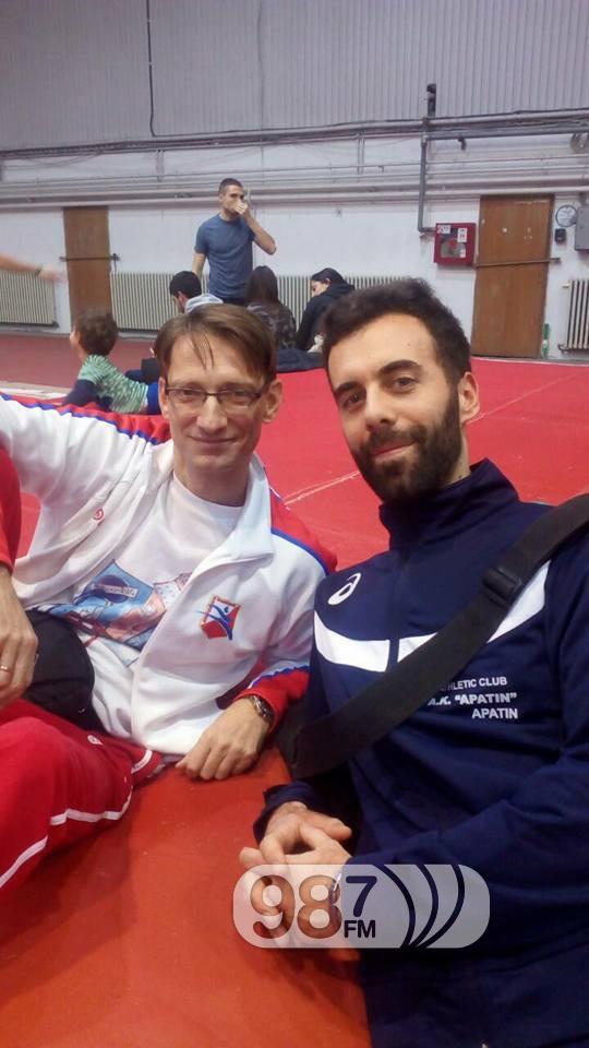 Trener AK Apatin Bojan Tomašević sa trenerom Ivane Španović Goranom Obradovićem
